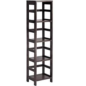 Leo Storage Open Shelf, 5-Tier, 4-Section, Tall, Espresso, Durable and Easy to Assemble