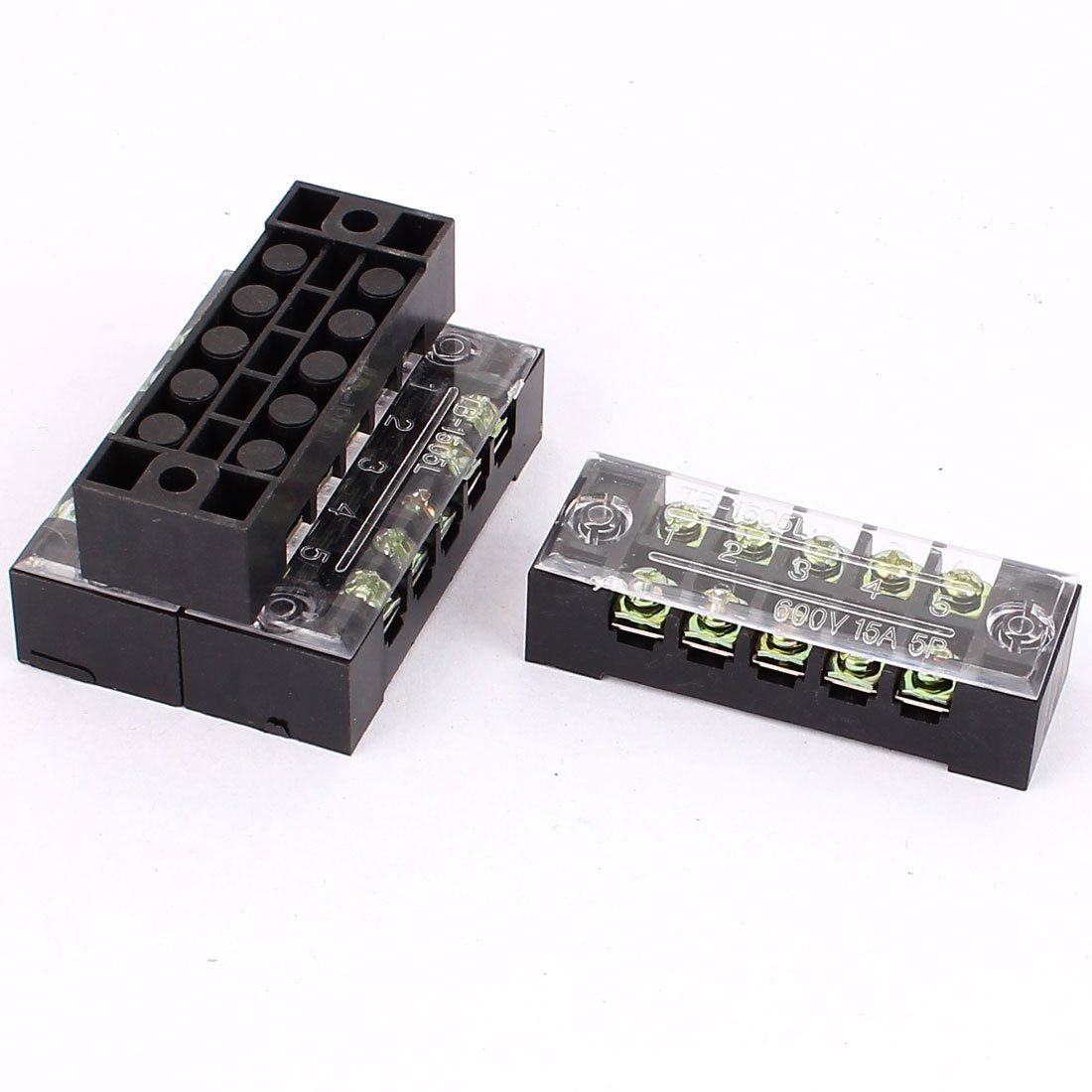 uxcell 4 Pcs 600V 15A 5P Dual Row Barrier Terminal Block Wire Connector Bar