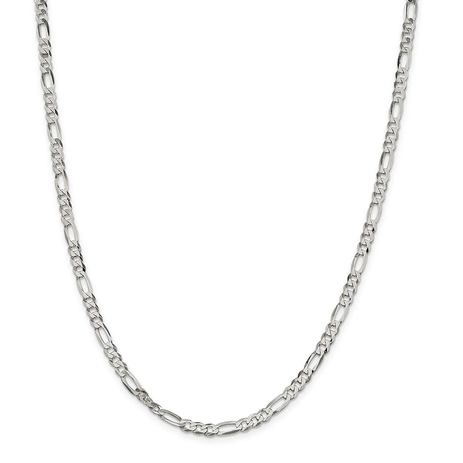 "925 Sterling Silver 4.5mm Polished Flat Figaro Link Chain Necklace 7"" - 24"""