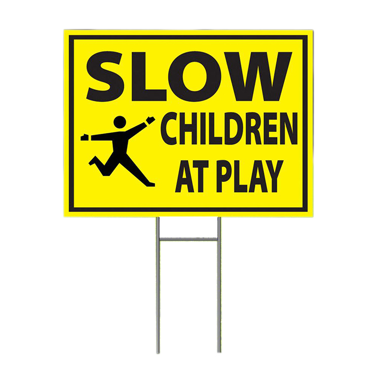 Large Sign Mounted Onto 3mm Board With Stake Children Playing Slow Down