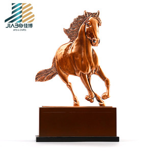 2018 made in china creative trophy design metal big brass horse shaped trophy