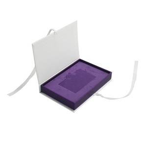 Paperboard Business Card Storage Box Ribbon Closure Custom Gift Box