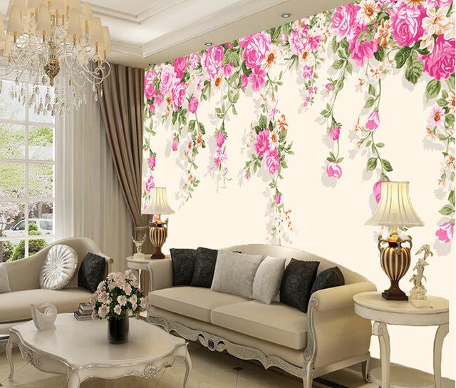Personalizzato fiori carta da parati 3d rosa per for Carta da parati moderna per soggiorno