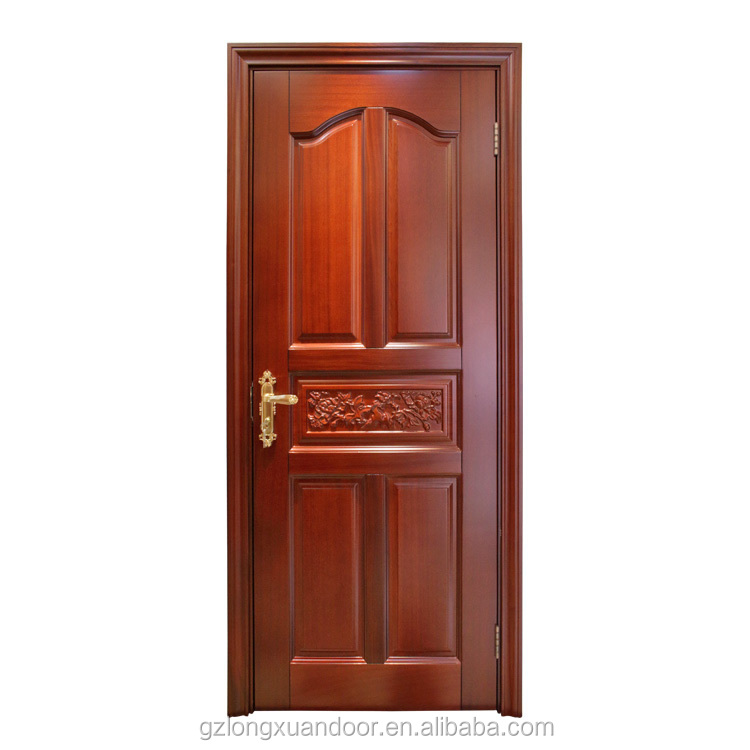 Luxurious Design Carving Panel Sapele Interior Solid Wood Door For Villa