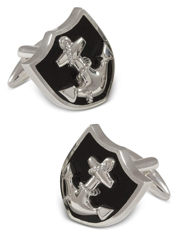 ZAUNICK Anchor Cufflinks Sterling Silver & Enamel