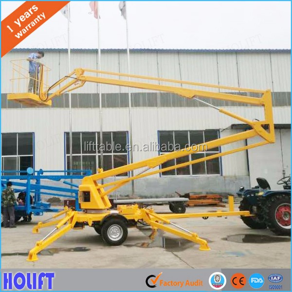 CE approved 8-16m mobile articulated boom lift/telescopic boom lift/aerial work platform