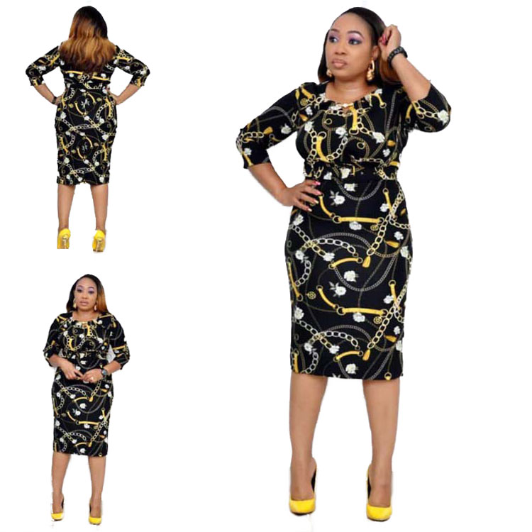 90428-MX44 african women clothing plus size printed dresses фото
