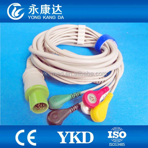 Compatible 5 leads Hellige ecg cable for SCP844,SCS804, CardioServ,VICOM-sm