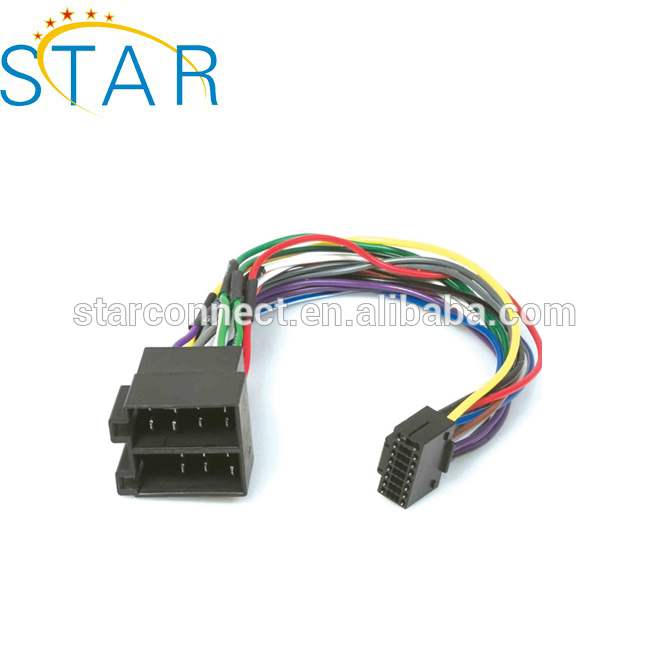 factory hot sale kenwood iso 16 pin stereo wiring harness for car audio