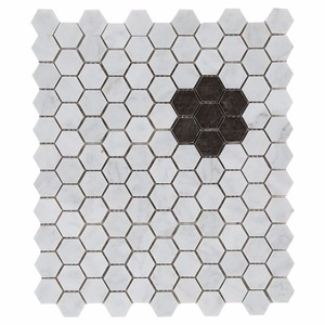 1'' Brown and Statuary white hexagon mosaic non-slip bathroom floor marble mosaic tile