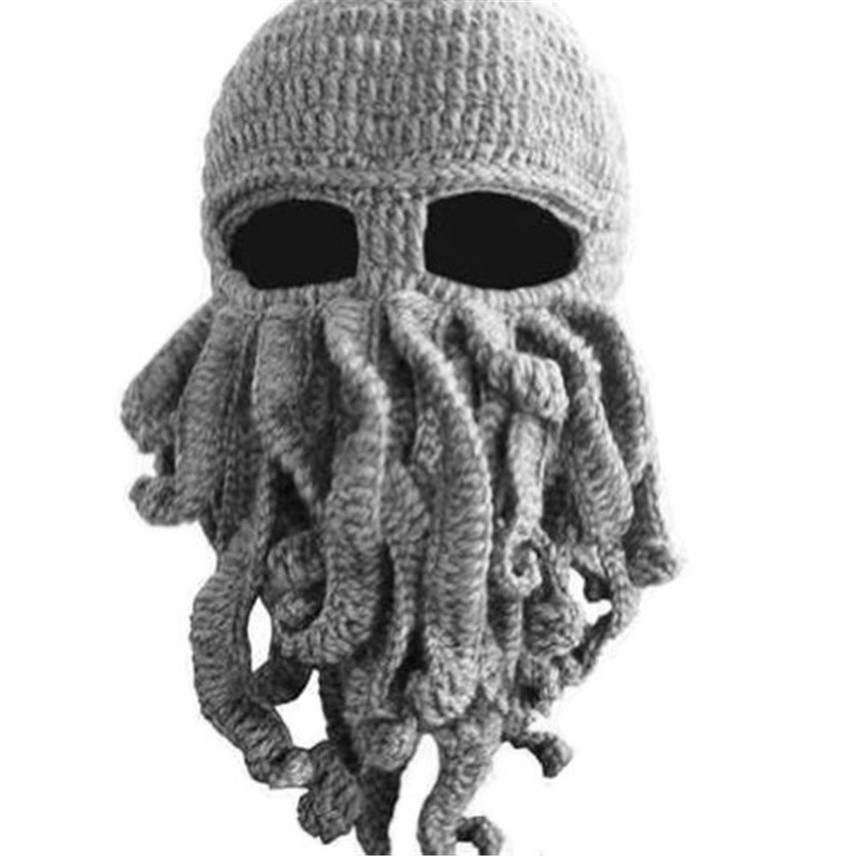 Dealzip Inc Winter Warm Novelty Unisex Knitted Wool Funny Octopus Mask Beard Caps Crochet Beanies Men Women Unisex For Halloween Party