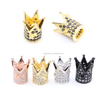 DIY micro pave CZ cubic zirconia crown brass spacer beads accessories for jewelry making
