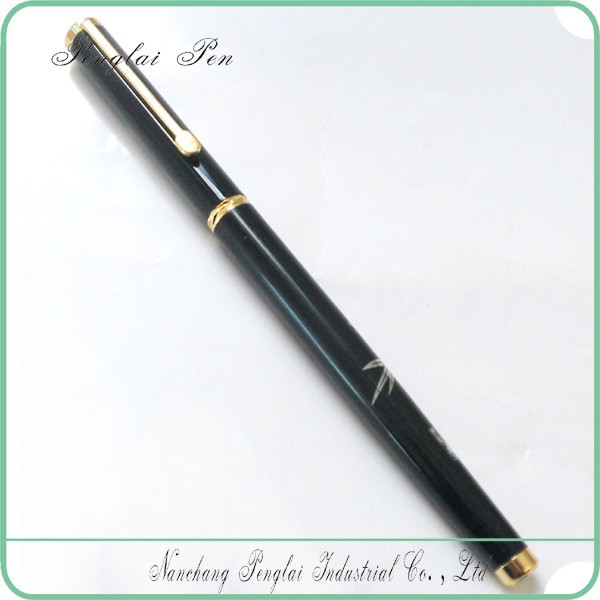 2017 Decorating carved pattern middle black metal 22kgp fountain pen