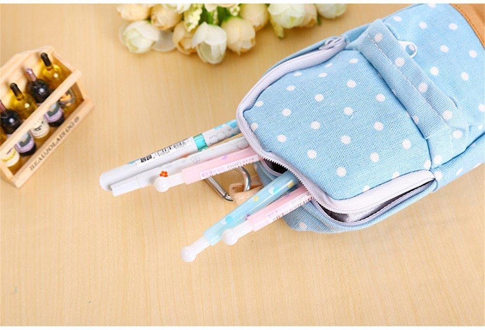 Katoot@ New korean big capacity canvas backpack polka dot pencil bag school pencil case pen curtain storage bag (Blue)