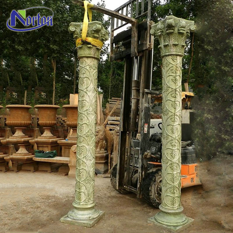 Modern luxury natural square decorative stone Roman column green marble house pillars designs for sale