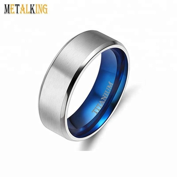 8mm Matte Finish Unisex Titanium Wedding Band Rings Blue Plated In