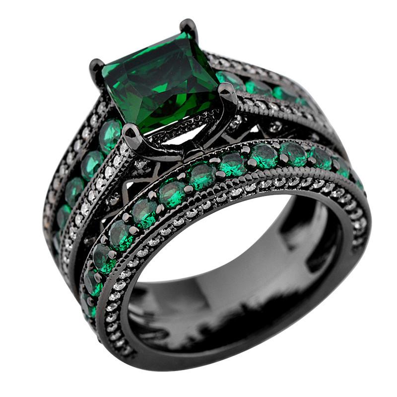 Emerald Green Wedding Rings