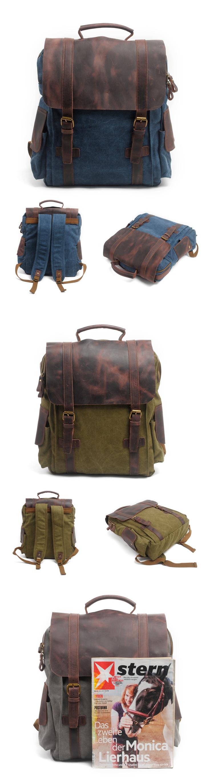 The latest elegant vintage crazy horse leather cotton canvas unisex satchel rucksack school back pack backpack bag