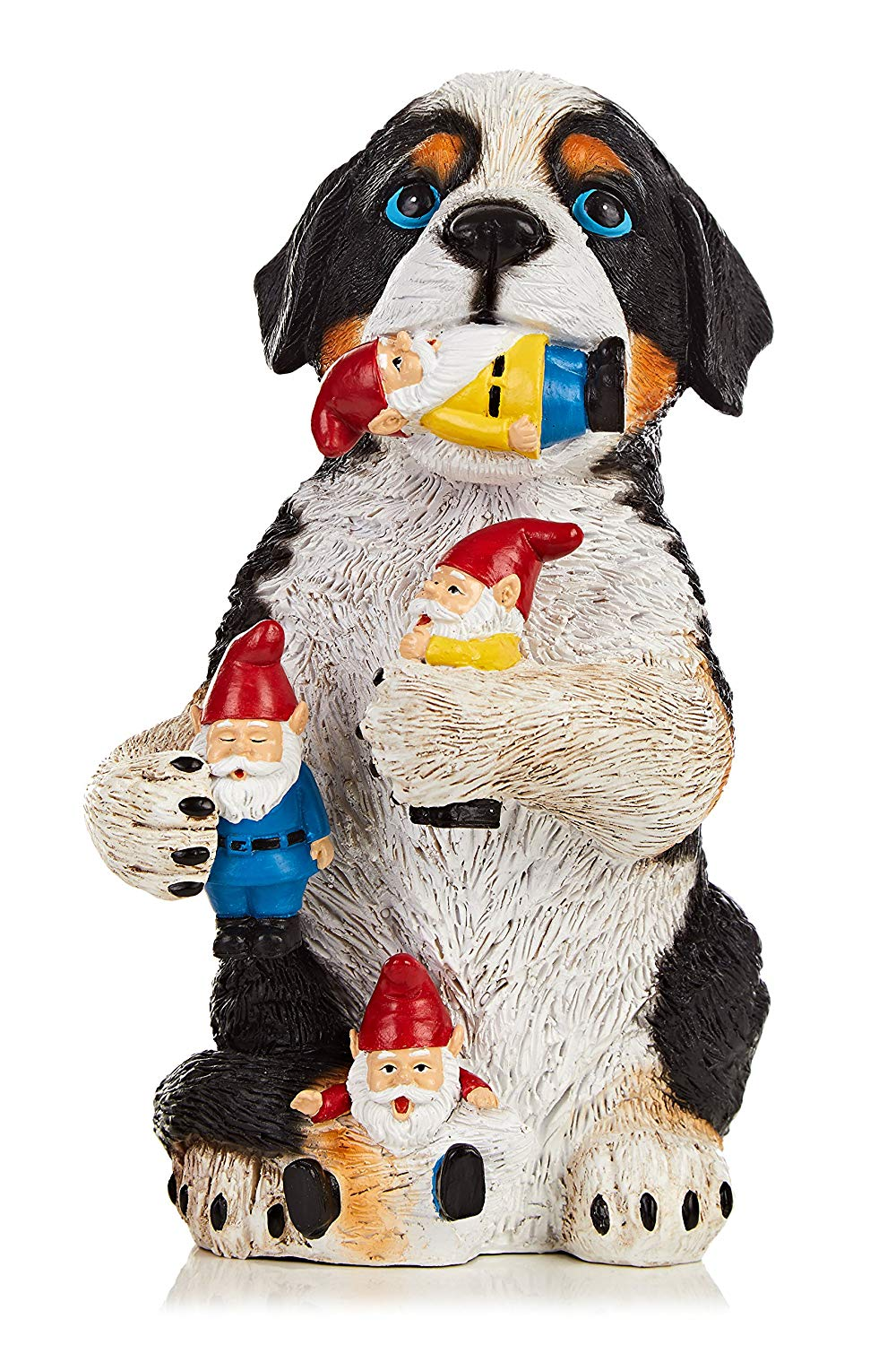 """Purple Tree Line Garden Dog Gnome Massacre Statue Resin 9.7"""" Cute, Colorful, Funny, Premium Quality Deco Accessory for outdoor or indoor"""