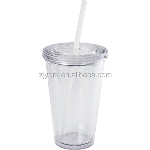16oz double wall food grade plastic tumbler easy drinking mug/cup