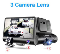 3 Lens Driving recorder 1080P HD Car DVR Dash Cam Video Recorder 4 ''G-sensor Car Camera Recorder Night Vision