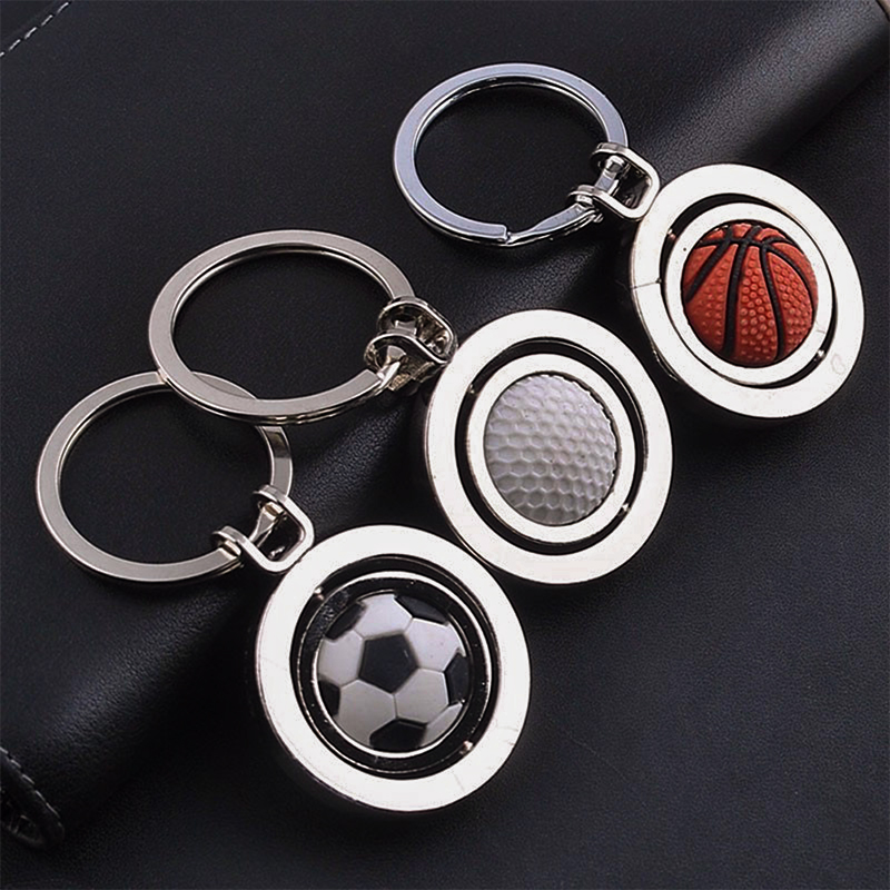 Wholesale round shaped 3D rotatable metal stress soccer football keychain custom various ball keyring