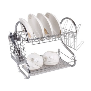 custom design white metal wire kitchen cabinet Two Tier Draining Rack Rustless Storage Rack bowl dish rack with Chopstick Holder