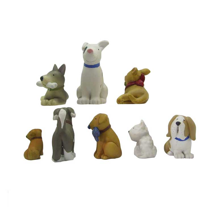 8 Pieces / Set of Playful Puppies Figurines Set Birthday Gift Animal Mini Crafts