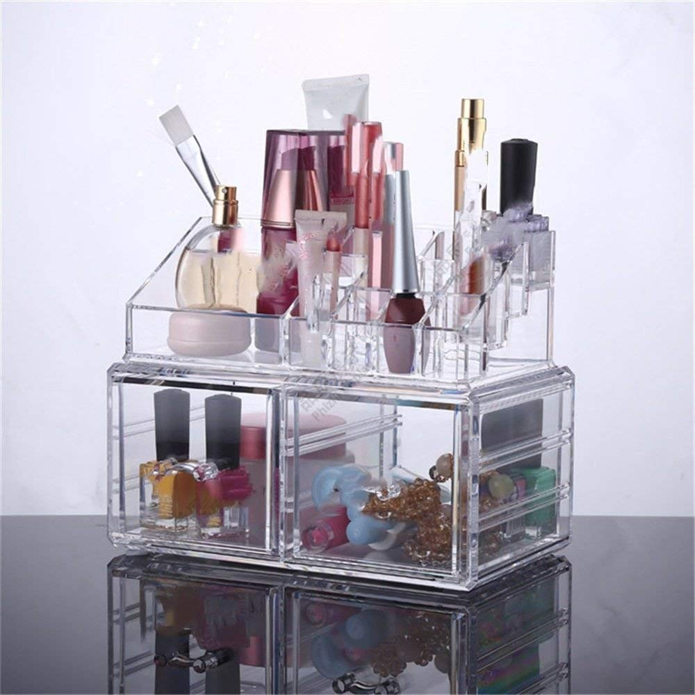 ZQ Makeup/Jewelry Transparent Plastic Makeup Box,Stationery/Small Items Acrylic Desktop Storage Box,Multi-sized,2 Square Drawers