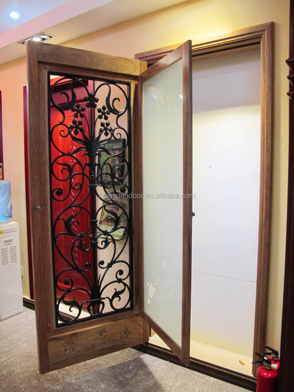 Wrought iron glass door panels clear varnish wood door for Wood doors with wrought iron