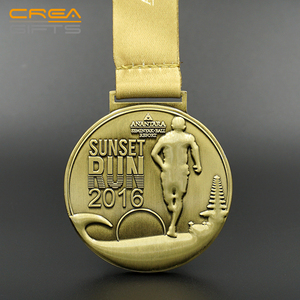High Quality Customized 3D Metal Antique Brass Sports Running Marathon Medal