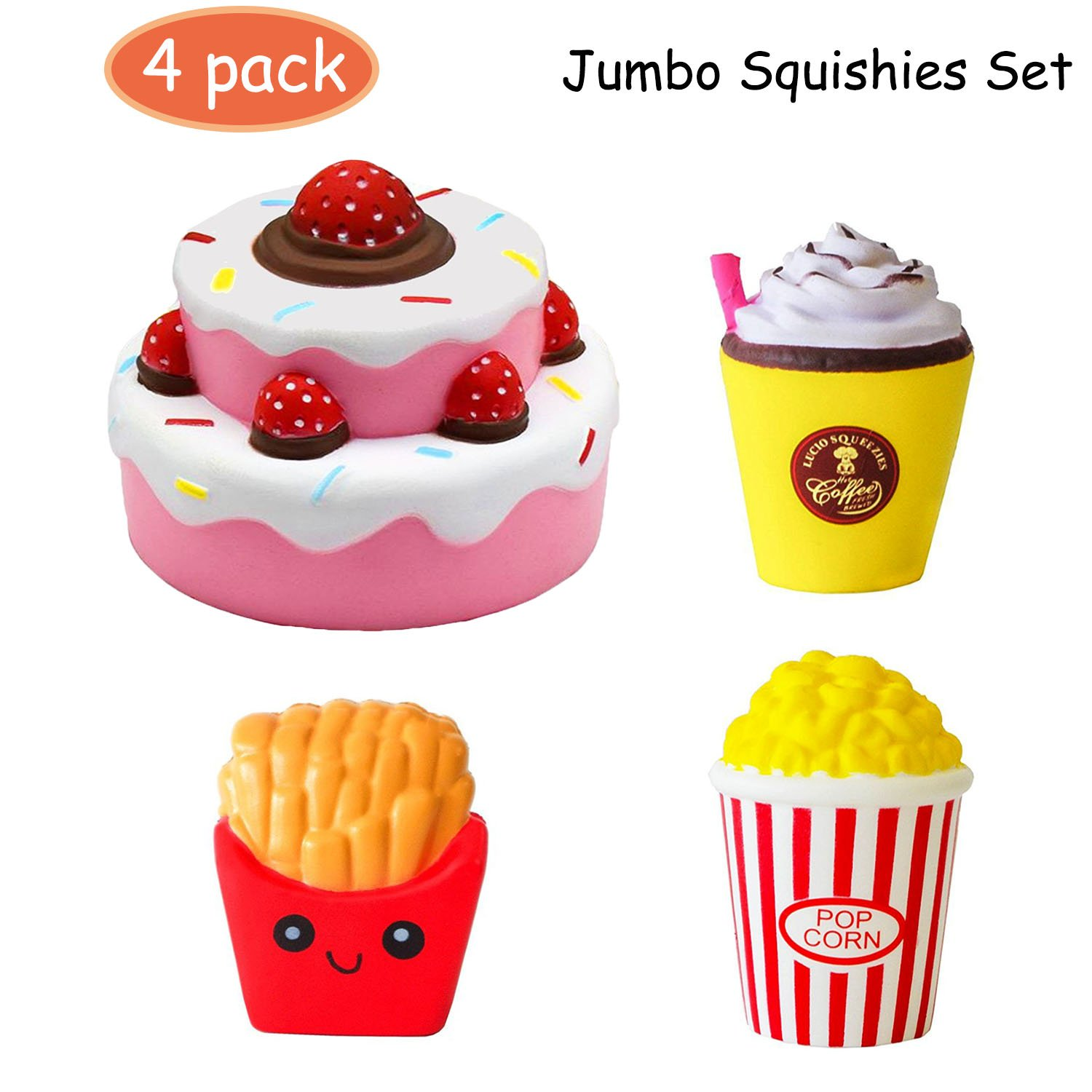 4pc Jumbo Squishies Set Popcorn French Fries Coffee Cup Scented Strawberry Cake Slow Rising Squeeze Squishies Toy Stress Relief Decorations Toy Great Gift for Adults and Kids, Party Birthday Toys