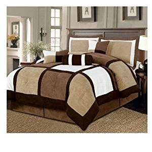 Svitlife Queen size 7-Piece Bed in a Bag Patchwork Comforter set in Brown White Set Patchwork Comforter Suede Micro Collection Brown