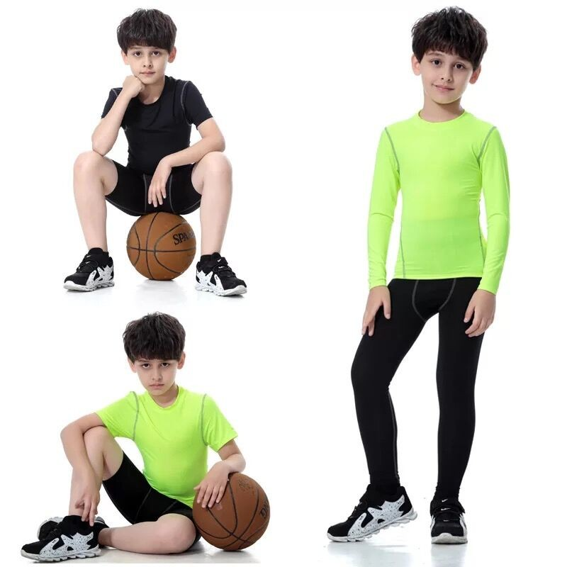 2018 Colorful Sportswear Boys' Compression Shirt Shorts Pants Sportswear Set Kids