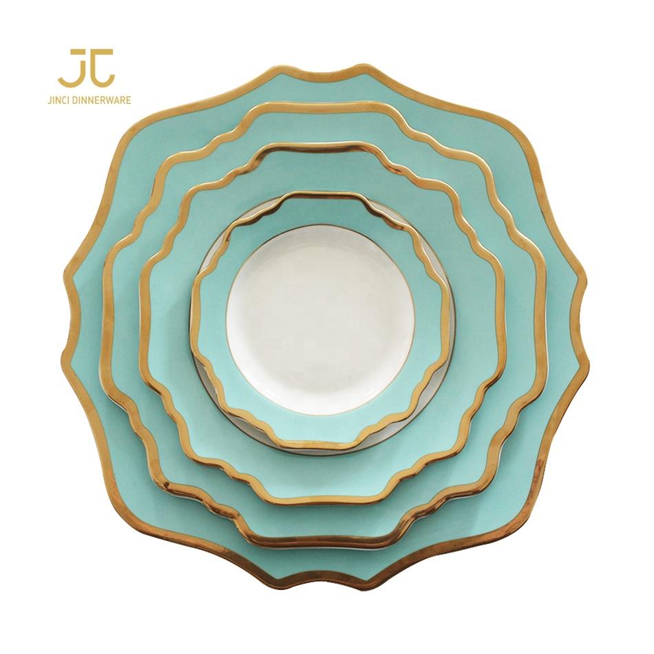 Sunflower gold rim reusable wedding housewares dinnerware set, Green with gold rim