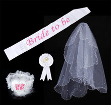 เจ้าสาวชุด Rosette Badge Sash Garter Veil Hen Night Bachelorette Party