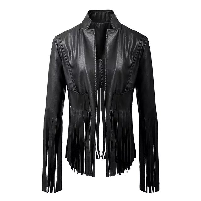 Spring Autumn Women Street Motorcycle Tassel Faux Leather Jackets Ladies PU Outerwear Black Coat Drop Shipping