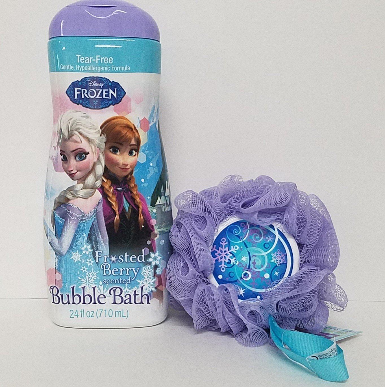Disney Anna Elsa Frozen Bubble Bath Frosted Berry Sponge Bundle 24fl oz