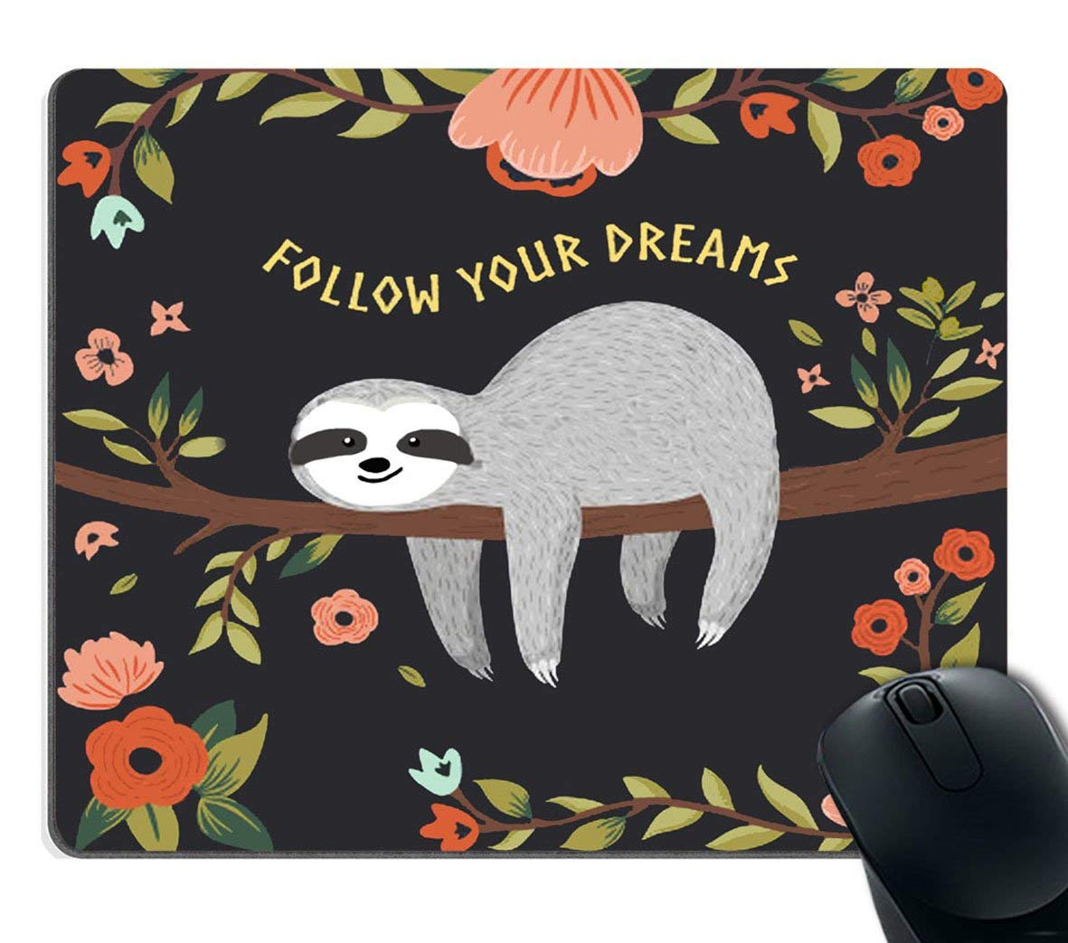 501ff9298cc Get Quotations · Smooffly Gaming Mouse Pad Custom,Follow Your Dreams Mouse  pad Cute Baby Sloth on The