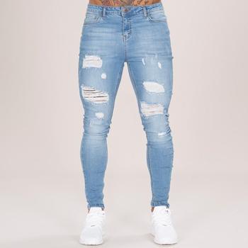 1fd5633a8b39da Light Blue Ripped Jeans Men s Skinny Denim Jeans Pent Wholesale ...