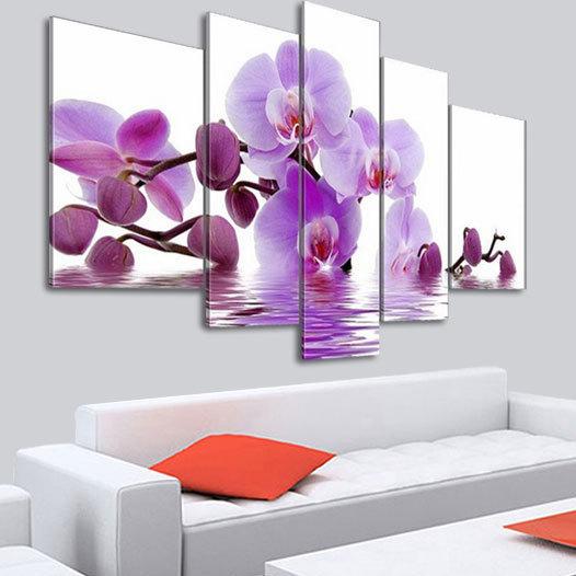 5 panel wandkunst hand bemalt lila orchideenbl ten. Black Bedroom Furniture Sets. Home Design Ideas