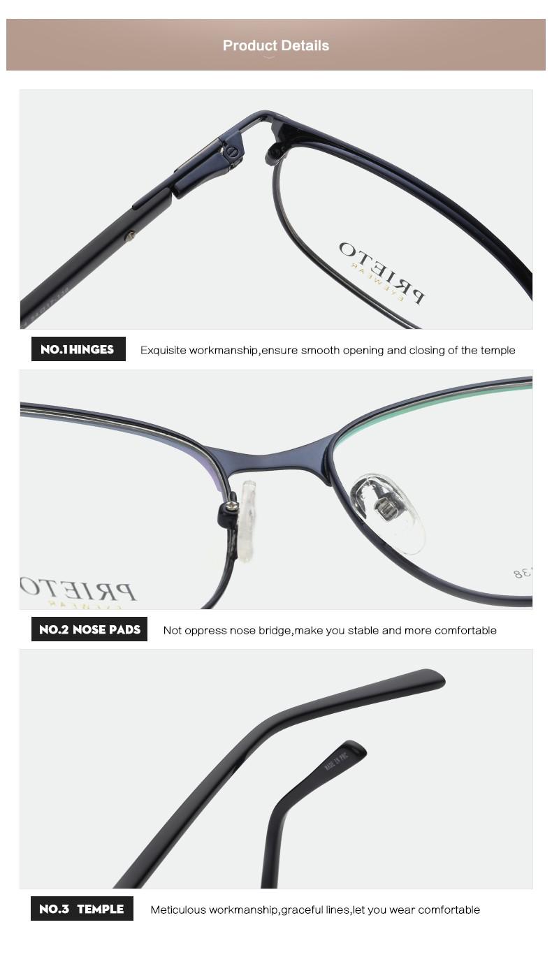 Prieto Brillen Runde Gesicht Form Cat Eye Metallrahmen Persol ...