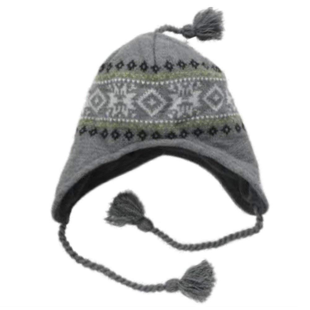 b6e5e02a5afad Get Quotations · Ben Berger Boys Gray Snowflake Peruvian Trapper Hat Nordic  Print Grey