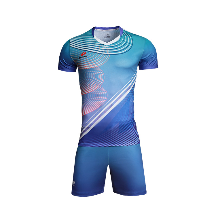 ZHOUKA Wholesale Volleyball Uniform Color Blue Custom Design Your Own Short Sleeve Volleyball Jersey