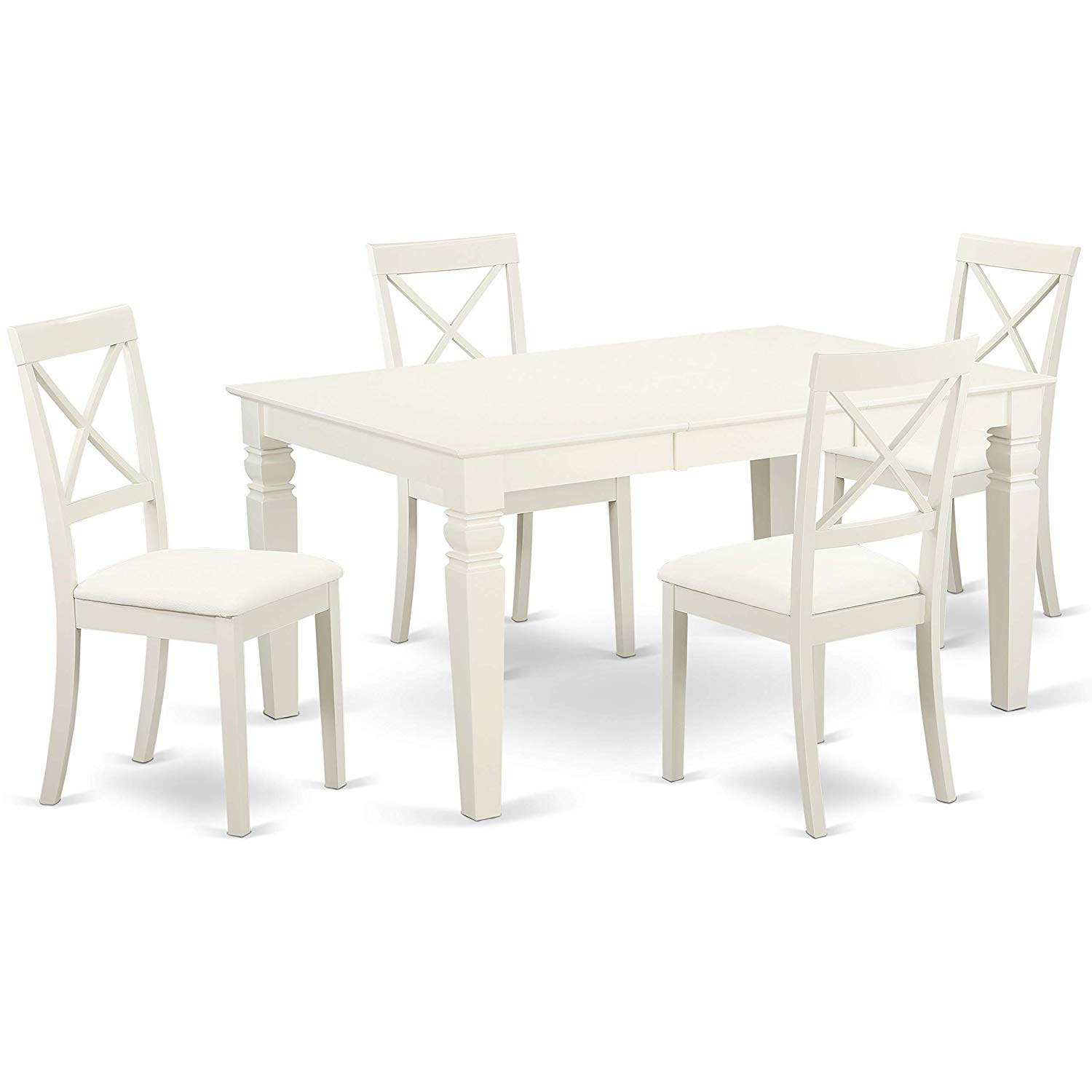 East West Furniture WEBO7-LWH-LC Weston Set, Linen White
