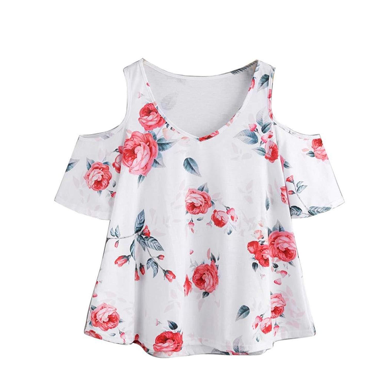 Franterd Shirt, Summer Boho Floral Shirt for Women Casual Beach Cold Shoulder T-Shirt Tops Ladies Short Sleeve Blouse