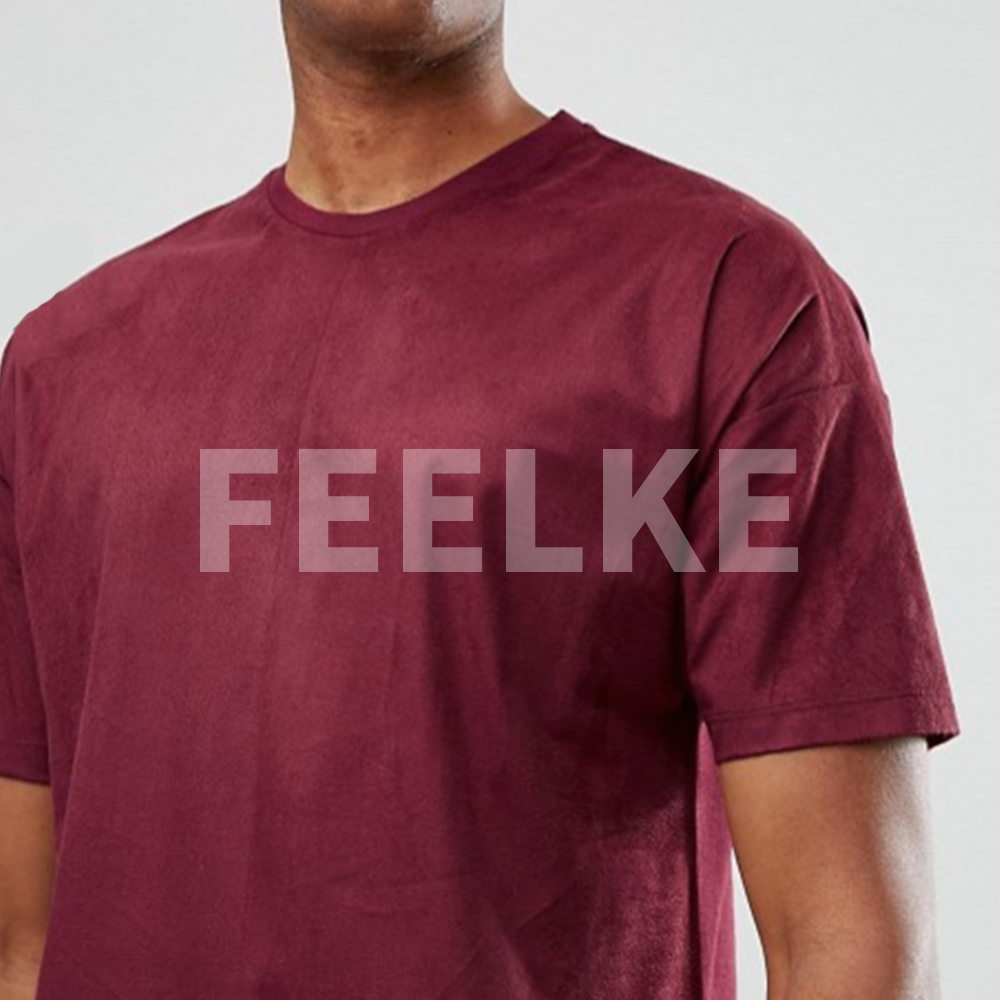 Men's latest new design suede custom t shirt