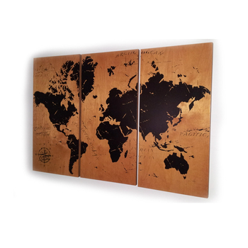 Yellow World Map Abstract Wood Art Decor Print Wall Craft And Gift