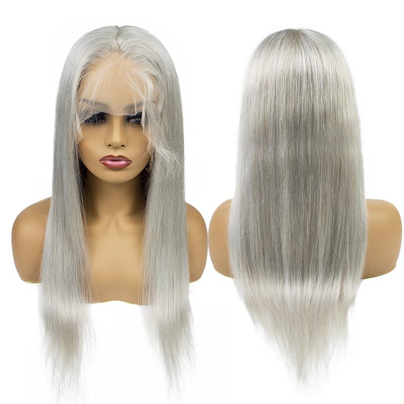 150 Density Long Russian Virgin Human Hair Grey Color Full Lace Wig for Black Women