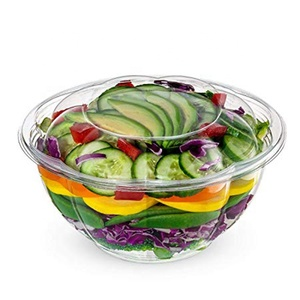 Airtight And Leak-Proof Sealing Clear Plastic Containers To Go 24 oz Disposable Salad Bowls With Biodegradable PET